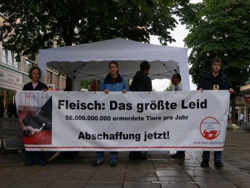 Claiming the abolition of meat in Stuttgart in May 2011